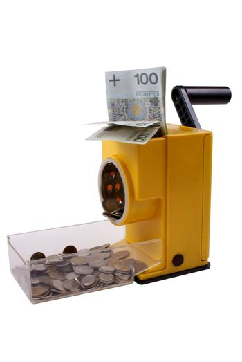 device to changing notes to coins isolated on white background