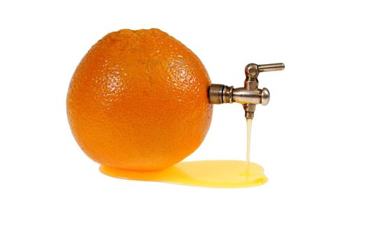 orange with tap and juice flow isolated on white background