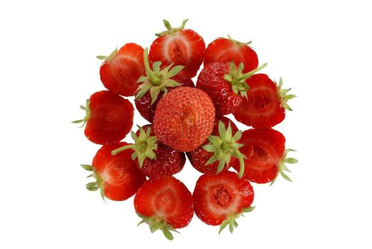 ripe strawberries arranged in a circle isolated on white background