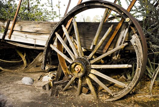 Corroded carriage wheel