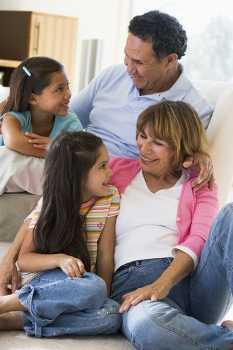 Grandparents talking with grandchildren