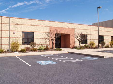 door and exterior for an industrial building, school, office