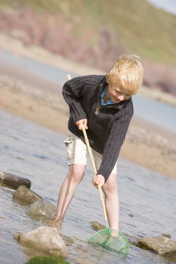 Young boy at beach with net smiling
