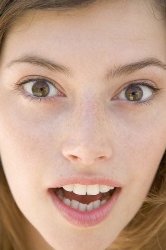 Head shot of surprised woman