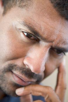 Head shot of worried man