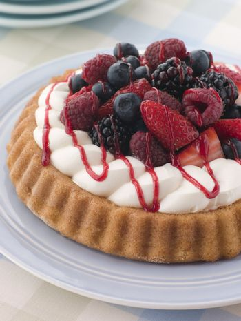 Whipped Cream and Berry Sponge Flan