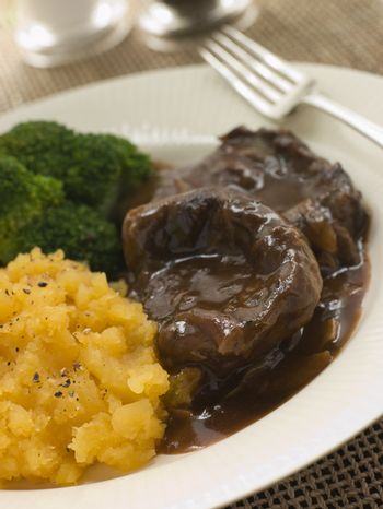 Shin of Beef Braised in Stout with Mashed Swede and Broccoli
