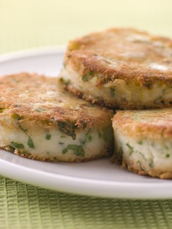 Plate of Bubble and Squeak cakes