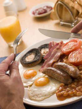 Eating a Full English Breakfast