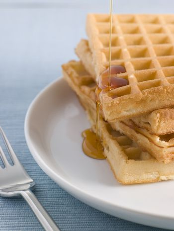 Waffles with Caramel Syrup