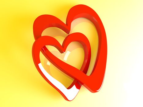 3D Illustration. 3D rendered Heart Shapes.
