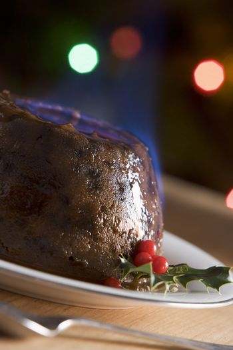 Christmas Pudding with a Brandy Flamb