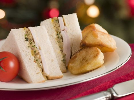 Roast Turkey Stuffing and Mayonnaise Sandwich with Cold Roast Po