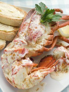 Lobster Newburg with Toast and Lemon