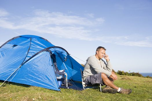 Man camping outdoors