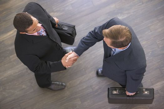 Two businessmen indoors shaking hands