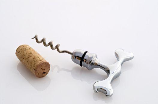 A corkscrew spiral in steel on white background
