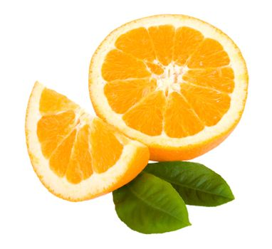 close-up cut orange fruit with leaves, isolated on white