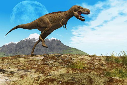 A Tyrannosaurus Rex dinosaur walks through his territory.