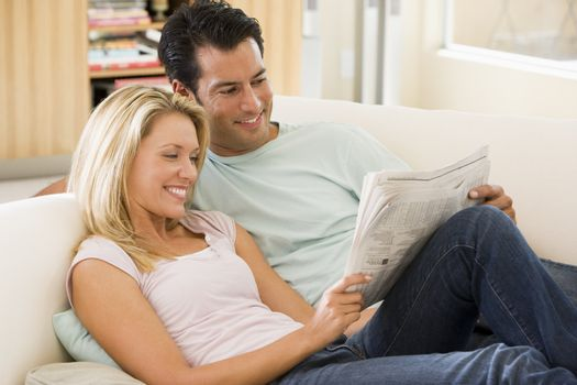 Couple on sofa at home