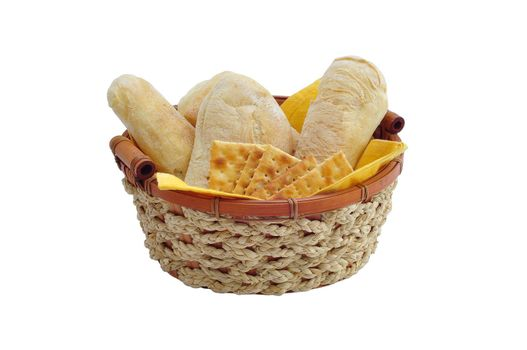basket of bread and crackers on white background