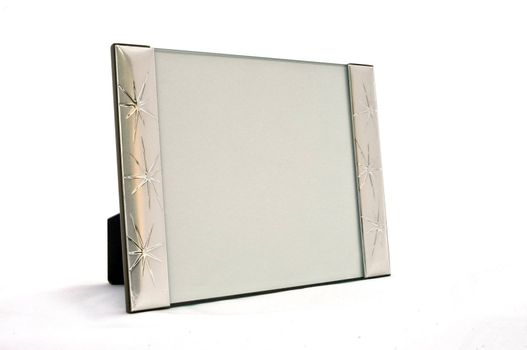 empty frame in silver on white background