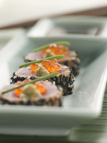 Seared Yellow Fin Tuna Rolled in Sesame seeds with Wasabi and Sa