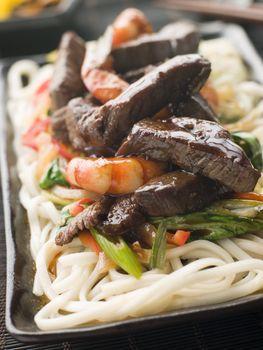 Teriyaki Beef Fillet and Tiger Prawns with Udon Noodles