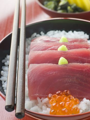 Sashimi of Yellow Fin Tuna on Rice with Salmon Roe Pickles and W