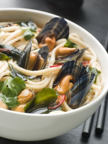 Mussels and Udon Noodles in Chili Soy Broth