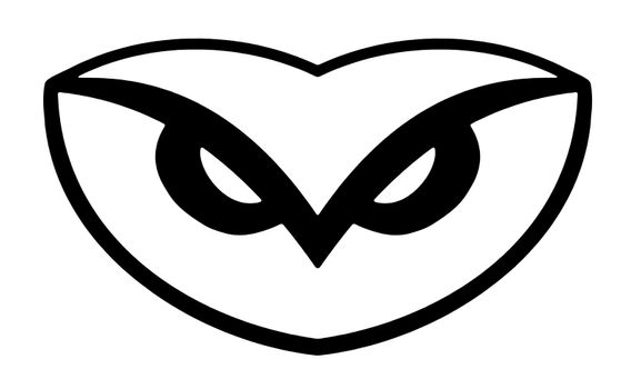 Illustration of a simplistic owl head