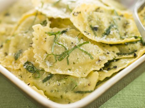 Dish of Spinach and Ricotta Ravioli and Sage Butter