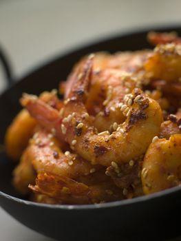 Chili and Sesame fried King Prawns
