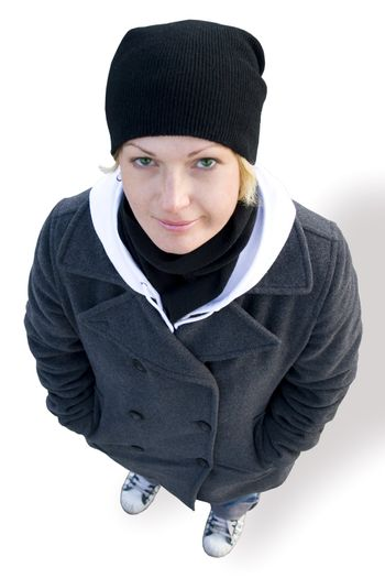 girl in cap, coat and gym shoes