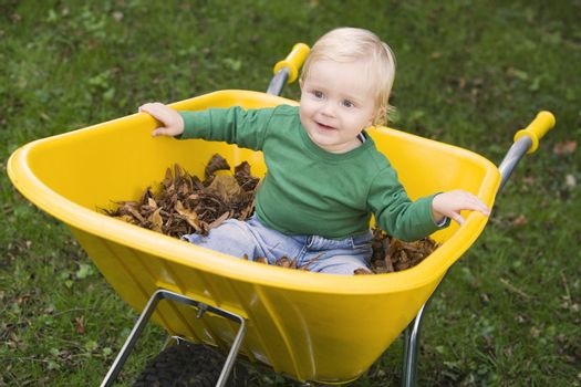 Baby outdoors sitting in wheelbarrow smiling