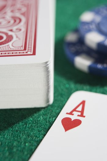 Deck of cards on a poker table