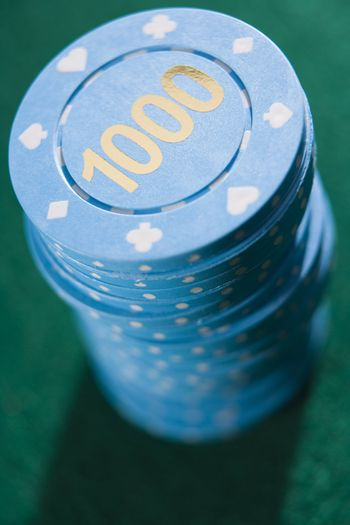 Poker chips piled on a poker table