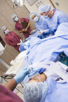 Patient undergoing egg retrieval procedure