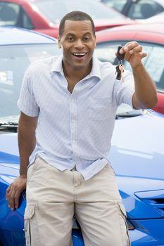 Man picking up new car