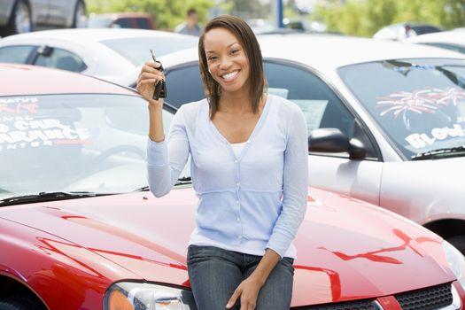Woman picking new car
