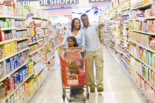 Young family grocery shopping