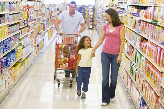 Family grocery shopping