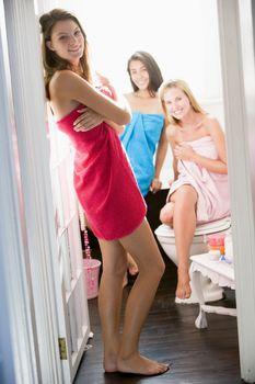 Three women in a bathroom