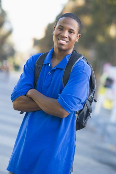 University student wearing rucksack