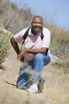 Senior man on a walking trail