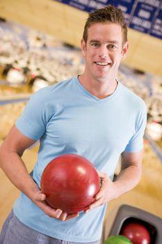 Man at a bowling lane