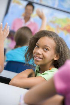 Pupil in elementary school classroom