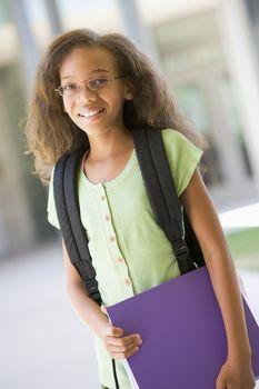 Elementary school pupil outside