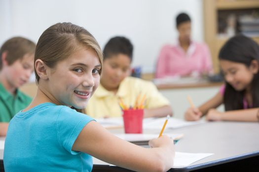 Elementary pupil in school classroom