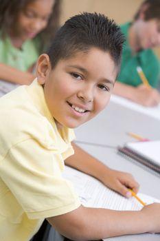 Male pupil in elementary school classroom